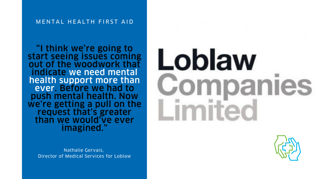 """The image is divided into two columns. On the left we see a quote from the case study, """"I think we're going to start seeing issues coming out of the woodwork that indicate we need mental health support more than ever. Before we had to push mental health. Now we're getting a pull on the request that's greater than we would've ever imagined."""" This text is in black on a medium blue background. The quote is attributed to Nathalie Gervais, Director of Medical Services for Loblaw. On the right is a logo for Loblaw Companies Limited, which appears in a gradient of grey text, as well as the logo for the Mental Health First Aid program. It show a green hand and a blue hand coming together to create the plus symbol often associated with first aid."""