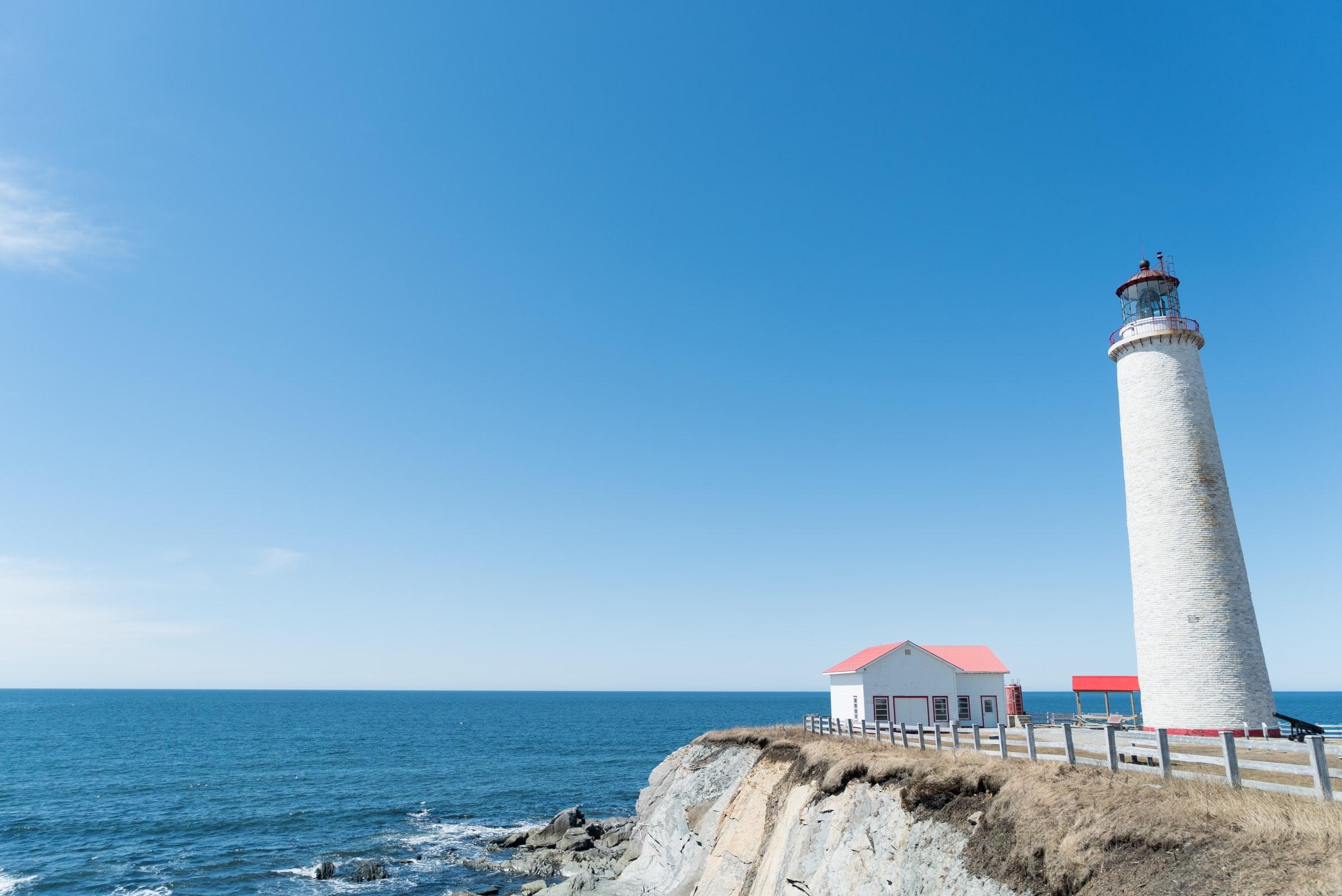 White lighthouse on the east-canadian coast